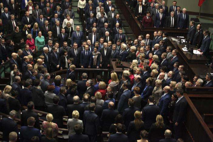 Poland's opposition lawmakers protesting at the plenary hall in parliament building. in Warsaw, Poland, January 11, 2017. REUTERS/Slawomir Kaminski/Agencja Gazeta